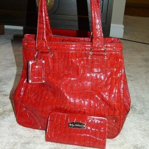 Liz Claiborne red reptile skin bag with wallet